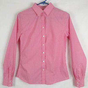Banana Republic Non-Iron Fitted Pink/White Stripe